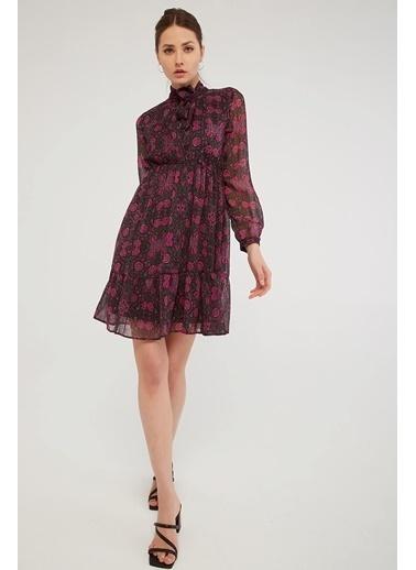 Modaset Bağlamalı Şifon Elbise Pembe Pembe